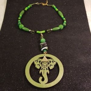 Jewelry - Wood laser cut disk Elephant charm choker/necklace